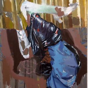 Pablo Merchante. Mujer Bocabajo. Óleo acrílico spray rotulador y gesso sobre tela .100x81